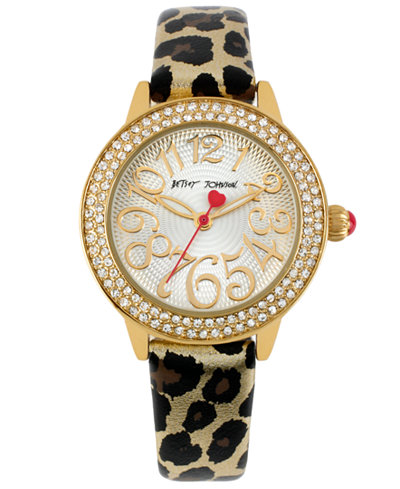 Betsey Johnson Watch, Women's Leopard-Print Leather Strap 32mm BJ00251-01