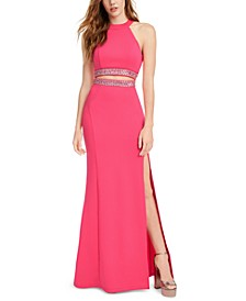 Juniors' Embellished-Waist Cutout Halter Dress