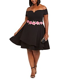 Trendy Plus Size Off-The-Shoulder Fit & Flare Dress