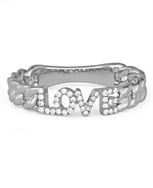 Diamond (1/10 ct. t.w.) 'Love' Cuban Link Ring in 14K White Gold