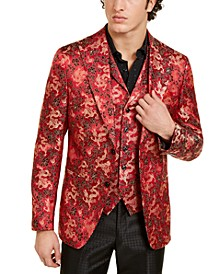 Orange Men's Slim-Fit Red/Gold Floral Dragon Evening Jacket & Vest Separates