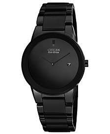 Men's Eco-Drive Axiom Black Ion-Plated Stainless Steel Bracelet Watch 40mm AU1065-58E