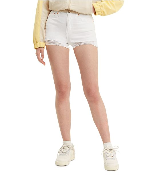 Levi's High-Rise Distressed Denim Shorts