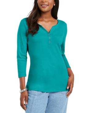 Karen Scott 3/4-Sleeve Henley Shirt, In Regular and Petite, Created for Macy's