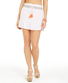 Juniors' Smocked Ruffled Swim Cover-Up Skirt