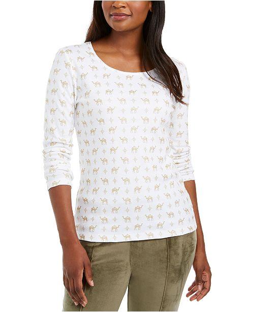 Karen Scott Shimmer Camel-Print Top, Created for Macy's