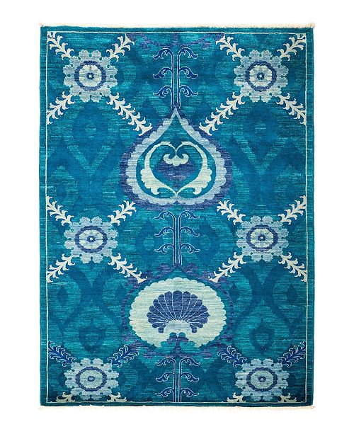 """Timeless Rug Designs CLOSEOUT! One of a Kind OOAK1315 Turquoise 4'2"""" x 5'10"""" Area Rug"""
