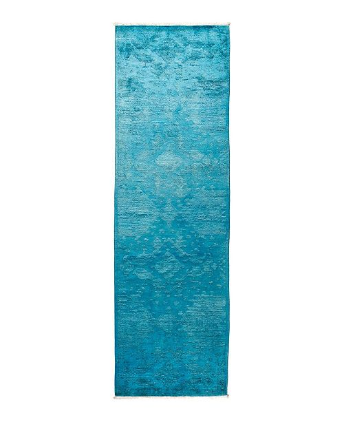 "Timeless Rug Designs CLOSEOUT! One of a Kind OOAK1716 Turquoise 3' x 10'1"" Runner Rug"