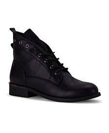 Cuvee Embellished Lace-Up Combat Bootie