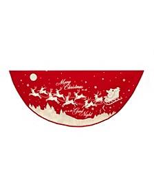 48-Inch Reindeer and Santa Printed Treeskirt