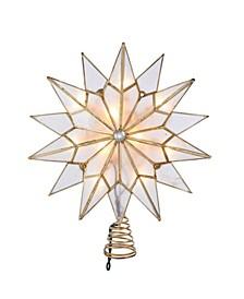 10-Light Capiz Double Tip Star With Center Gem Treetop