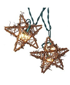 10-Light Rattan Natural Star Light Set
