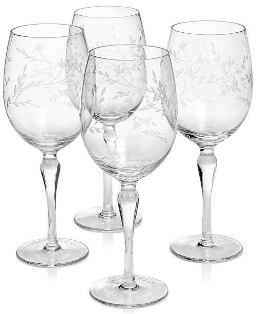 Hotel Collection Etched Floral Wine Glasses, Set of 4, Created For Macy's