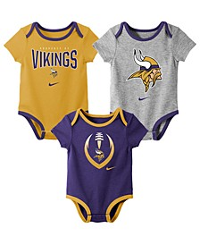 Baby Minnesota Vikings Icon 3 Pack Bodysuit Set