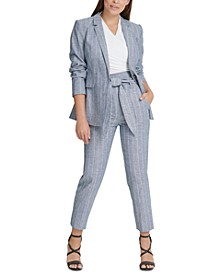Striped One-Button Blazer, Ruched Top & High-Waist Pants