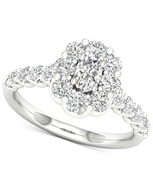 Diamond Oval Flower Halo Engagement Ring (1-3/8 ct. t.w.) in 14k White Gold