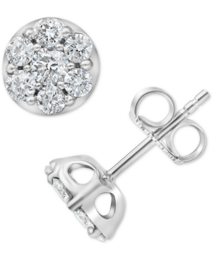 Lab-Created Diamond Cluster Stud Earrings (1 ct. t.w.) in Sterling Silver