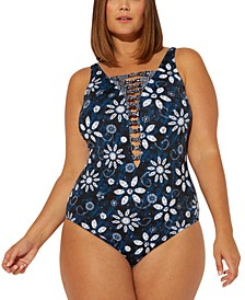 Plus Size Take A Dip Printed Strappy One-Piece Swimsuit