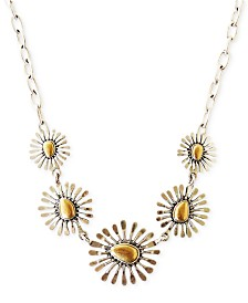 "Lucky Brand 15"" Two-Tone Floral Collar Necklace"