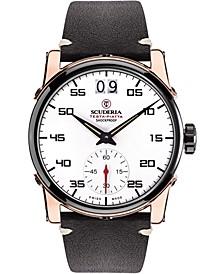 Men's Swiss Testa Piatta Black Leather Strap Watch 42mm