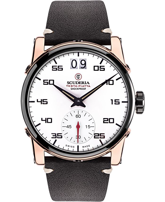 CT Scuderia - Men's Swiss Testa Piatta Black Leather Strap Watch 42mm
