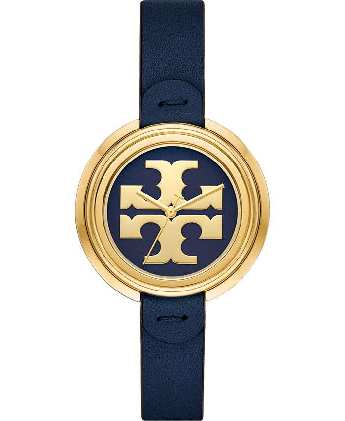 Tory Burch - Women's The Miller Navy Leather Strap Watch 36mm
