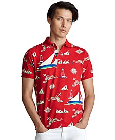 Men's Custom Slim Fit Sailing-Print Polo Shirt
