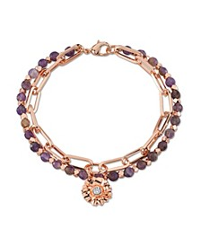 Genuine Amethyst Fine Plated Silver Double Strand Crystal Flower Charm Link Bracelet