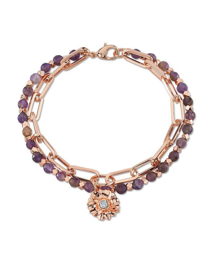 Unwritten - Genuine Amethyst Double Strand Crystal Flower Charm Link Bracelet