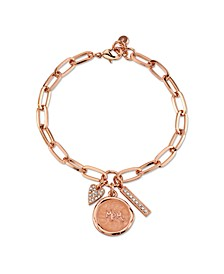 "Rose Gold Tone Fine Plated Silver ""Mom"" Crystal Heart Charm Link Bracelet"