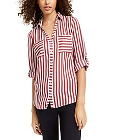 Juniors' Striped Utility Shirt