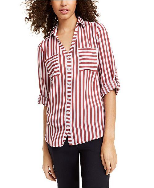 BCX Juniors' Striped Utility Shirt