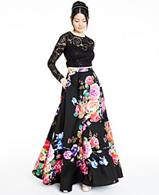 Juniors' 2-Pc. Lace & Floral-Print Gown