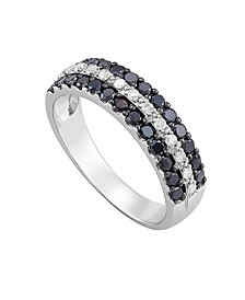 Black and White Diamond (3/4 ct. t.w.) band ring in Sterling Silver