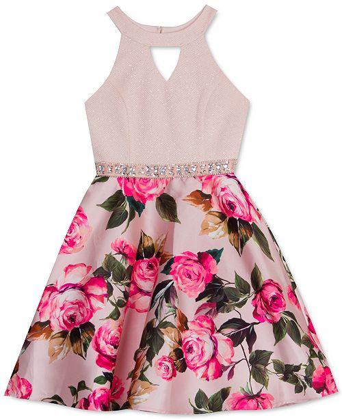 Rare Editions Big Girls Embellished Knit & Floral-Print Dress