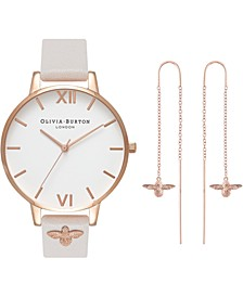 Women's Bee Blush Leather Strap Watch 38mm Gift Set