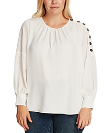 Plus Size Button-Shoulder Bubble-Sleeve Blouse