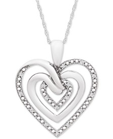 "Diamond Multi-Heart 18"" Pendant Necklace (1/10 ct. t.w.) in Sterling Silver"