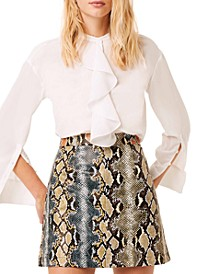 Elias Reptile Printed Leather Mini Skirt