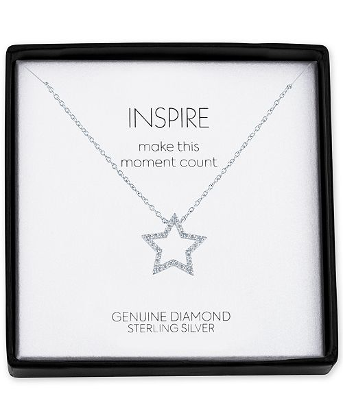 """Macy's Diamond Accent Star 18"""" Pendant Necklace in Sterling Silver"""