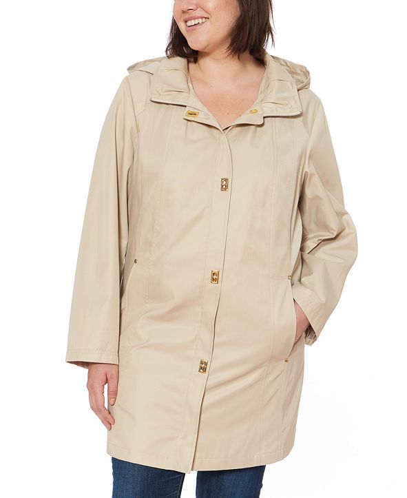 Jones New York Plus Size Water-Resistant Hooded Raincoat
