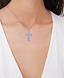 Cubic Zirconia Cross Pendant Necklace in Fine Silver Plate