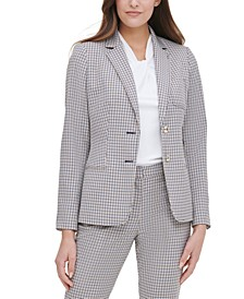 Plaid-Print Elbow-Padded Blazer
