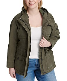 Trendy Plus Size  Cotton Hood Utility Jacket