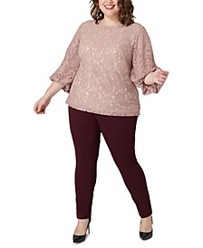Plus Size Lace Balloon-Sleeve Blouse