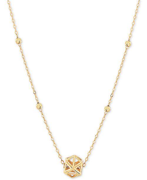"Macy's Openwork Prism 17"" Pendant Necklace in 10k Gold"