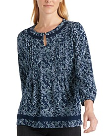 Cotton Printed Lace-Trim Top