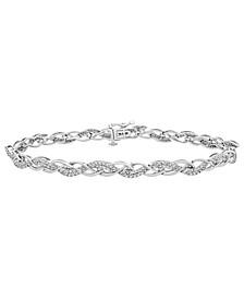 Diamond (1/2 ct. t.w.) Braid Link Bracelet in Sterling Silver