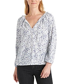 Cotton Printed Split-Neck Top