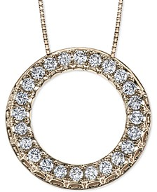 "Diamond Circle 18"" Pendant Necklace (1/2 ct. t.w.) in 14k Gold"